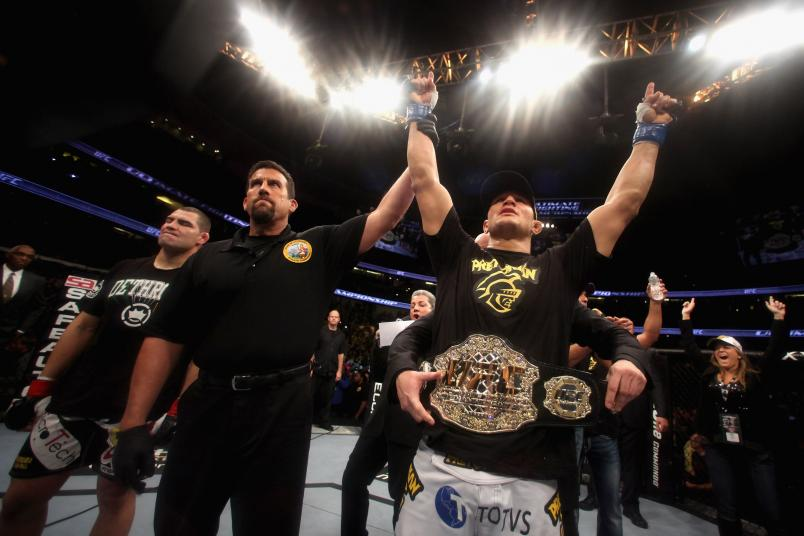 Junior dos Santos after defeating Cain Velasquez by TKO in the first round of their Heavyweight Championship Title bout on November 12, 2011 in Anaheim, California. (Photo by Donald Miralle/Zuffa LLC)