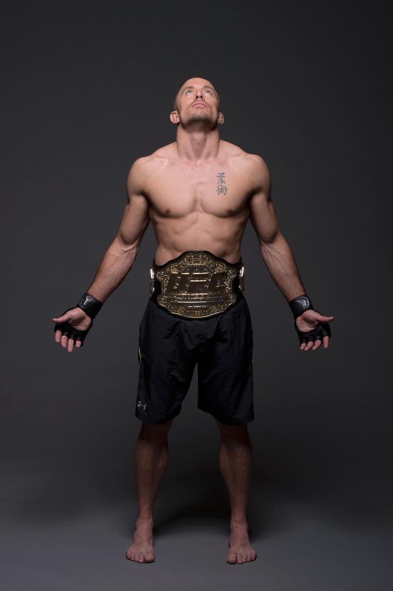 UFC Welterweight Champion Georges St-Pierre poses for a portrait on November 13, 2013 in Las Vegas, Nevada. (Photo by Jeff Bottari/Zuffa LLC)