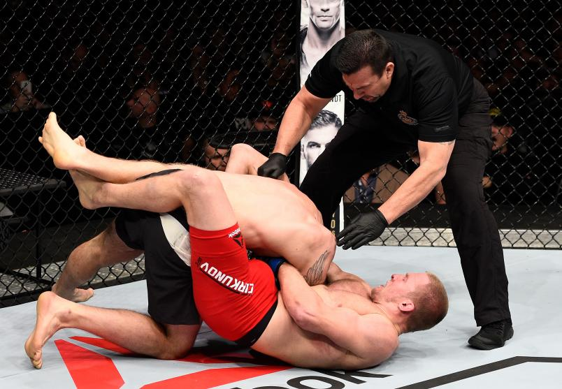 Misha Cirkunov secures a guillotine choke submission against Nikita Krylov of Ukraine in their light heavyweight bout during the UFC 206 event inside the Air Canada Centre on December 10, 2016 in Toronto, Ontario, Canada. (Photo by Jeff Bottari/Zuffa LLC)