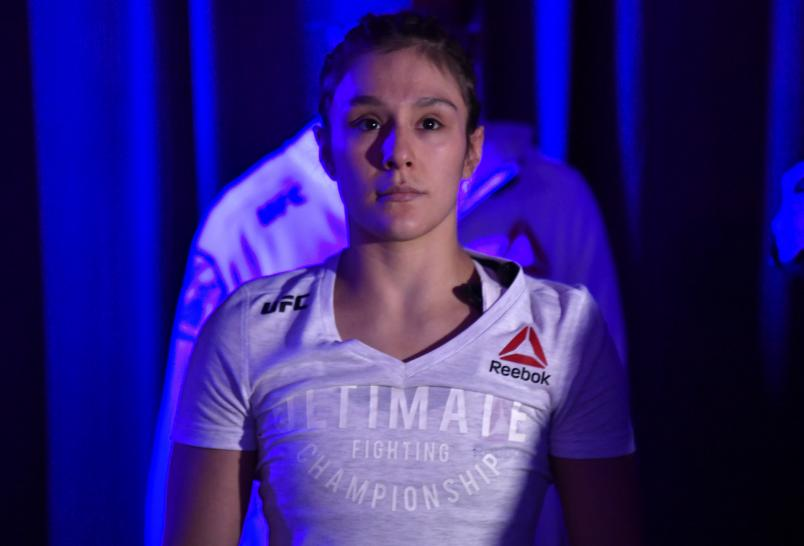 Alexa Grasso of Mexico prepares to fight Maycee Barber in their flyweight fight during the UFC 258 event at UFC APEX on February 13, 2021 in Las Vegas, Nevada. (Photo by Jeff Bottari/Zuffa LLC)
