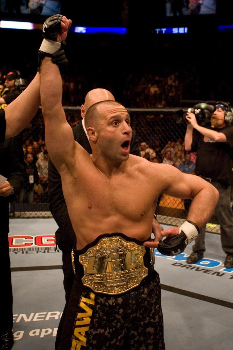 Matt Serra (brown/camo shorts) def. Georges St-Pierre (green shorts) - TKO - 3:25 round 1 during UFC 69 at Toyota Center on April 7, 2007 in Houston, Texas. (Photo by Josh Hedges/Zuffa LLC)