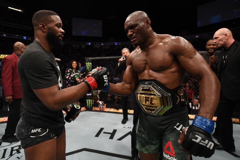Tyron Woodley and Kamaru Usman of Nigeria pay respects after their UFC welterweight championship bout during the UFC 235 event at T-Mobile Arena on March 2, 2019 in Las Vegas, Nevada. (Photo by Jeff Bottari/Zuffa LLC)