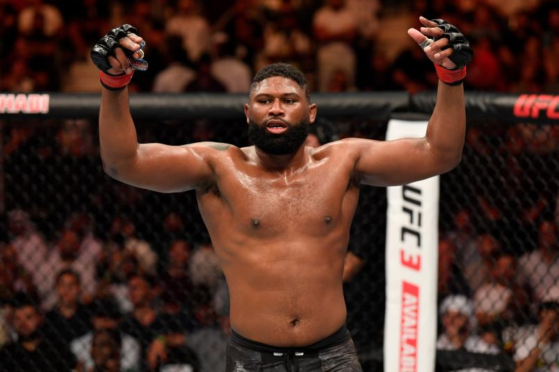 Curtis Blaydes celebrates his TKO victory over Shamil Abdurakhimov of Russia in their heavyweight bout during UFC 242 at The Arena on September 7, 2019 in Yas Island, Abu Dhabi, United Arab Emirates. (Photo by Jeff Bottari/Zuffa LLC)