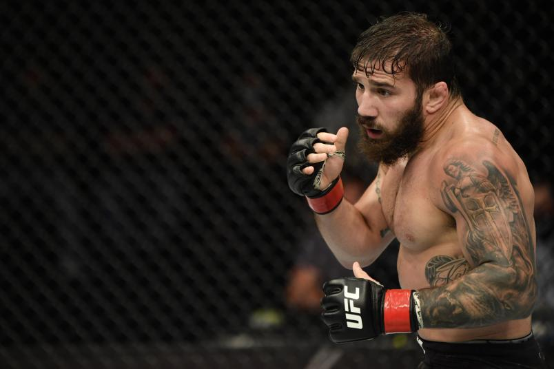 Jimmie Rivera battles Cody Stamann (not pictured) in their featherweight fight during the UFC Fight Night event inside Flash Forum on UFC Fight Island on July 16, 2020 in Yas Island, Abu Dhabi, United Arab Emirates. (Photo by Jeff Bottari/Zuffa LLC)