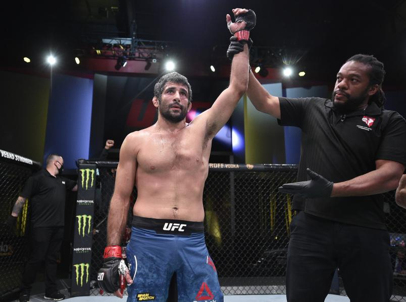 Beneil Dariush of Iran reacts after his knockout victory over Scott Holtzman in their lightweight fight during the UFC Fight Night event at UFC APEX on August 08, 2020 in Las Vegas, Nevada. (Photo by Chris Unger/Zuffa LLC)