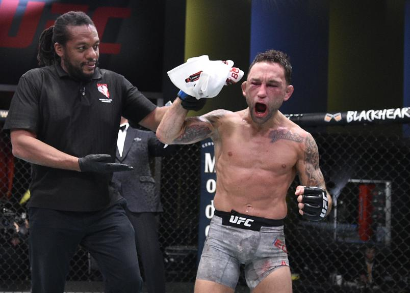 Frankie Edgar reacts after his split-decision victory over Pedro Munhoz of Brazil in their bantamweight fight during the UFC Fight Night event at UFC APEX on August 22, 2020 in Las Vegas, Nevada. (Photo by Chris Unger/Zuffa LLC)