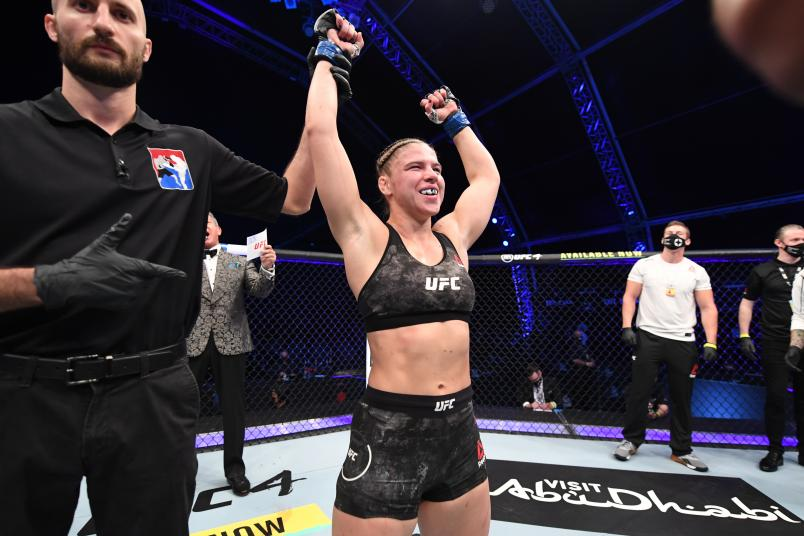 Miranda Maverick celebrates her victory over Liana Jojua of Georgia in their women's flyweight bout during the UFC 254 event on October 24, 2020 on UFC Fight Island, Abu Dhabi, United Arab Emirates. (Photo by Josh Hedges/Zuffa LLC )