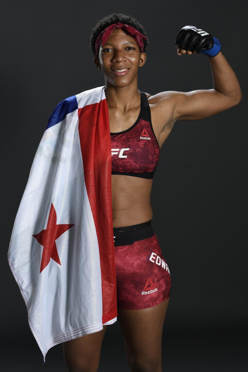 Joselyne Edwards of Panama poses for a portrait after her victory during the UFC Fight Night event at Etihad Arena on UFC Fight Island on January 17, 2021. (Photo by Mike Roach/Zuffa LLC)