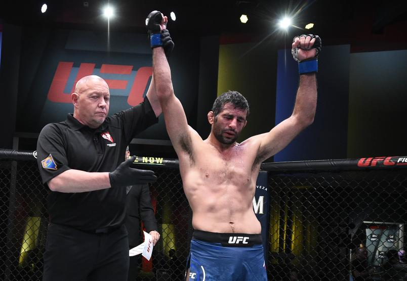 Beneil Dariush of Iran reacts after his split-decision victory over Diego Ferreira of Brazil in their lightweight fight during the UFC Fight Night event at UFC APEX on February 06, 2021 in Las Vegas, Nevada. (Photo by Chris Unger/Zuffa LLC)