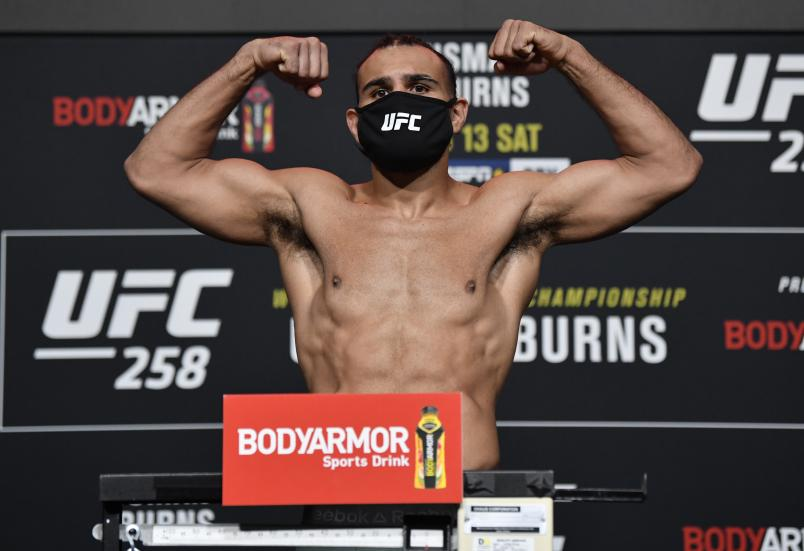 abe Green poses on the scale during the UFC weigh-in at UFC APEX on February 12, 2021 in Las Vegas, Nevada. (Photo by Jeff Bottari/Zuffa LLC)