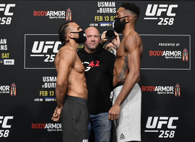 Opponents Gabe Green and Phil Rowe face off during the UFC weigh-in at UFC APEX on February 12, 2021 in Las Vegas, Nevada. (Photo by Jeff Bottari/Zuffa LLC)