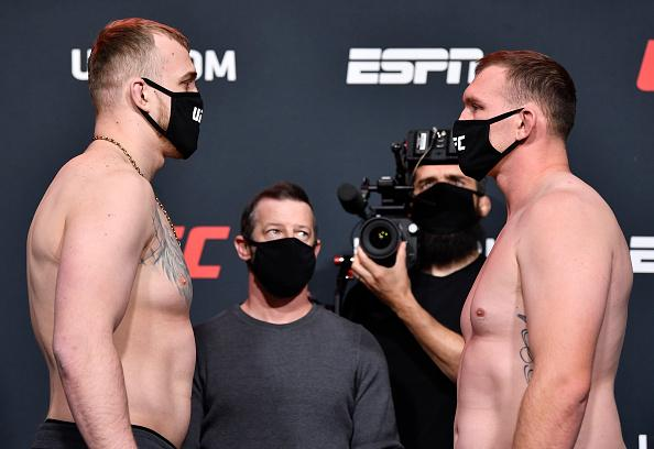 Opponents Serghei Spivac of the Ukraine and Jared Vanderaa face off during the UFC weigh-in at UFC APEX on February 19, 2021 in Las Vegas, Nevada. (Photo by Chris Unger/Zuffa LLC)