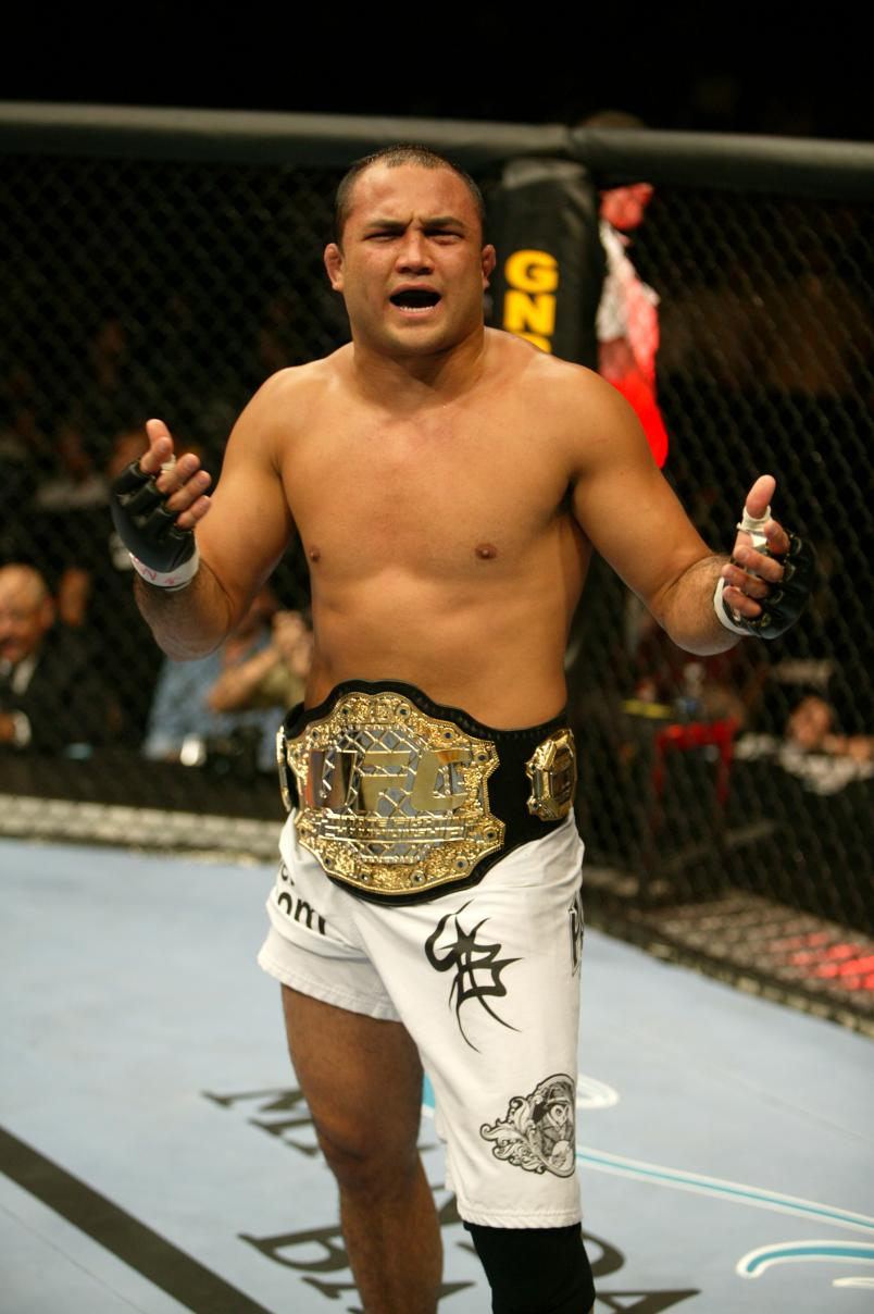 B.J. Penn reacts after his submission victory over Matt Hughes during their welterweight championship bout at UFC 46 inside the Mandalay Bay Events Center on January 25, 2004 in Las Vegas, Nevada. (Photo by Josh Hedges/Zuffa LLC)
