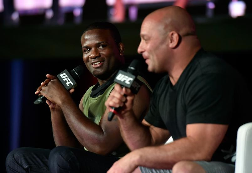 Mixed martial artists Din Thomas (L) and Matt Serra appear during a panel discussion at the UFC Fan Expo at the Las Vegas Convention Center on July 9, 2016 in Las Vegas, Nevada. (Photo by David Becker/Zuffa LLC)