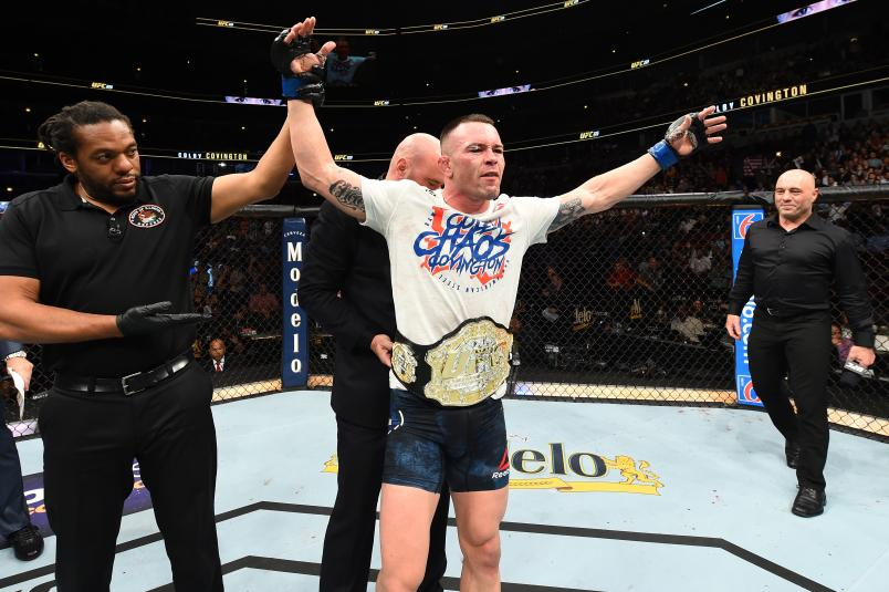 President Dana White places the interim welterweight championship belt on Colby Covington after defeating Rafael Dos Anjos of Brazil in their interim welterweight title fight during the UFC 225 event at the United Center on June 9, 2018 in Chicago, Illinois. (Photo by Josh Hedges/Zuffa LLC)