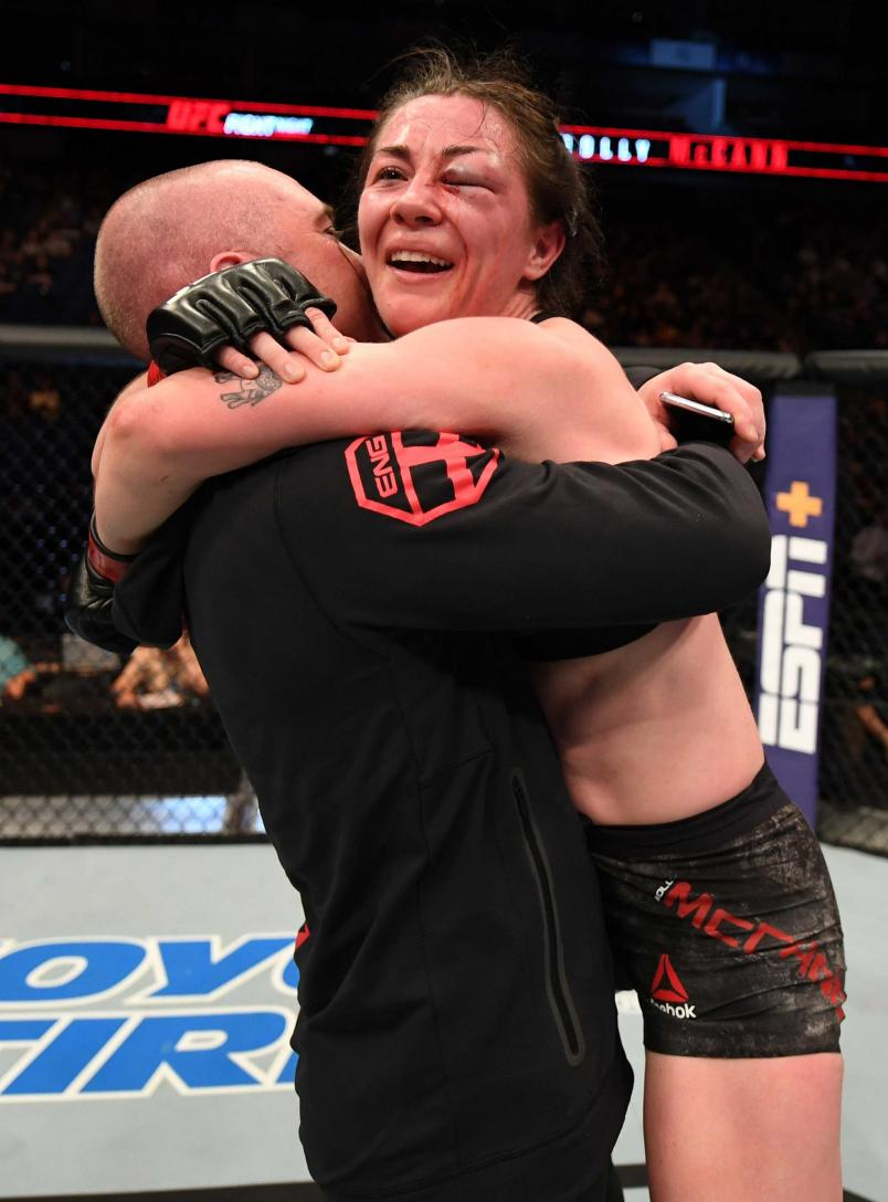 Molly McCann of England celebrates after her victory over Priscila Cachoeira of Brazil in their women's flyweight bout during the UFC Fight Night event at The O2 Arena on March 16, 2019 in London, England. (Photo by Jeff Bottari/Zuffa LLC)