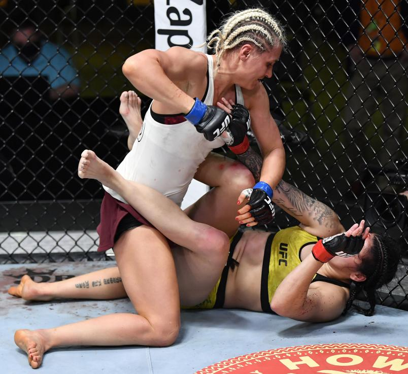 Yana Kunitskaya of Russia punches Ketlen Vieira of Brazil in a bantamweight bout during the UFC Fight Night event at UFC APEX on February 20, 2021 in Las Vegas, Nevada. (Photo by Chris Unger/Zuffa LLC via Getty Images)