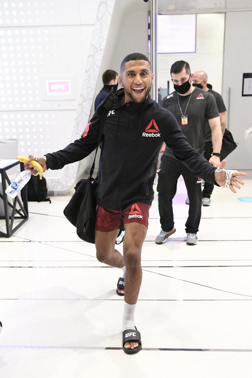 Youssef Zalal of Morocco walks backstage during the UFC Fight Night event inside Flash Forum on UFC Fight Island on October 11, 2020 in Abu Dhabi, United Arab Emirates. (Photo by Mike Roach/Zuffa LLC)