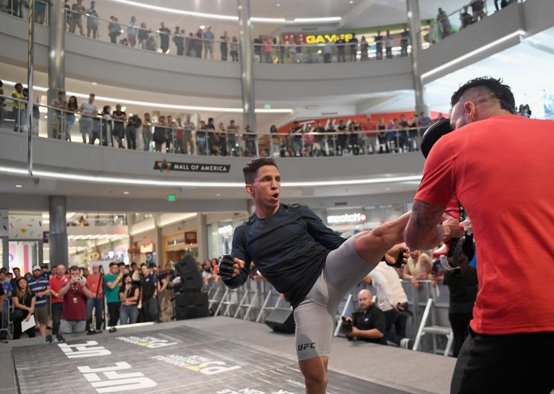 Joe Benavidez trains at the UFC Fight Night Ngannou v Dos Santos: Open Workouts at Mall of America on June 26, 2019 in Bloomington, Minnesota. (Photo by Hannah Foslien/Zuffa LLC)