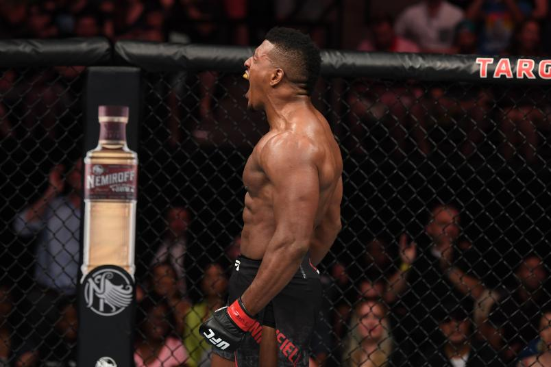 Alonzo Menifield reacts after defeating Paul Craig of Scotland in their light heavyweight bout during the UFC Fight Night event at the Target Center on June 29, 2019 in Minneapolis, Minnesota. (Photo by Josh Hedges/Zuffa LLC)