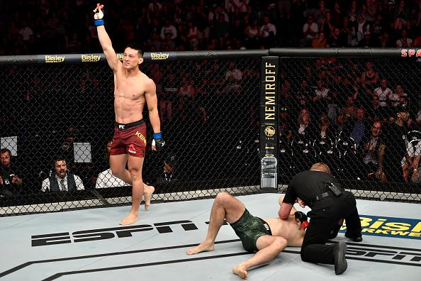 Song Kenan of China celebrates after his victory over Callan Potter of Australia in their welterweight bout during the UFC Fight Night event at Spark Arena on February 23, 2020 in Auckland, New Zealand. (Photo by Jeff Bottari/Zuffa LLC)