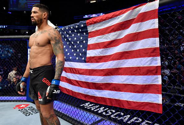 Max Griffin prepares to fight Alex 'Cowboy' Oliveira of Brazil in their welterweight fight during the UFC 248 event at T-Mobile Arena on March 07, 2020 in Las Vegas, Nevada. (Photo by Jeff Bottari/Zuffa LLC)