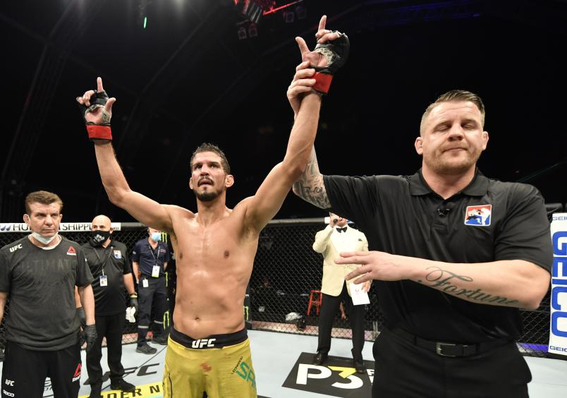 Leonardo Santos of Brazil reacts after his decision victory over Roman Bogatov in their lightweight fight during the UFC 251 event at Flash Forum on UFC Fight Island on July 12, 2020 on Yas Island, Abu Dhabi, United Arab Emirates. (Photo by Jeff Bottari/Zuffa LLC)