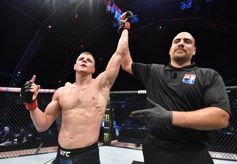 Grant Dawson celebrates after his victory over Nad Narimani in their bout during the UFC Fight Night event inside Flash Forum on UFC Fight Island on July 19, 2020 in Yas Island, Abu Dhabi, United Arab Emirates. (Photo by Jeff Bottari/Zuffa LLC)