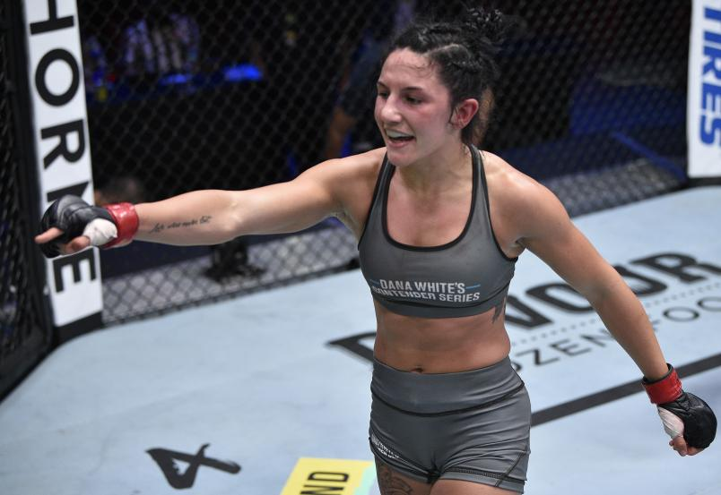 Cheyanne Buys reacts after the conclusion of her strawweight bout against Hilarie Rose during week three of Dana White's Contender Series Season 4 at UFC APEX on August 18, 2020 in Las Vegas, Nevada. (Photo by Chris Unger/DWCS LLC/Zuffa LLC)