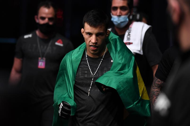 Thomas Almeida of Brazil walks to the Octagon prior to his lightweight bout against Jonathan Martinez ((Photo by Josh Hedges/Zuffa LLC)