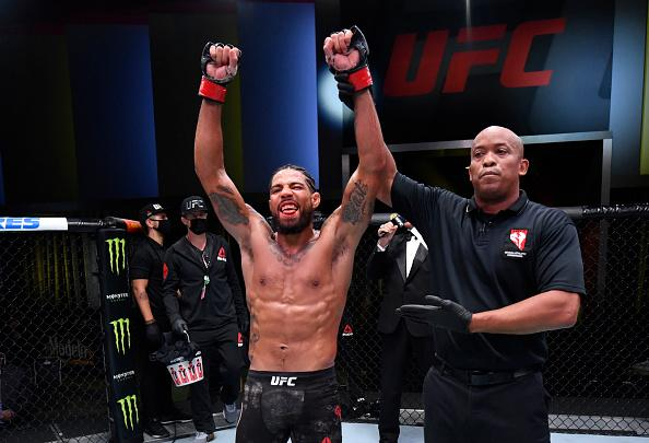 Max Griffin reacts after his victory over Ramiz Brahimaj in a welterweight fight during the UFC Fight Night event at UFC APEX on November 07, 2020 in Las Vegas, Nevada. (Photo by Jeff Bottari/Zuffa LLC)