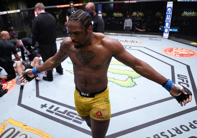 Ryan Spann reacts after his knockout victory over Misha Cirkunov of Latvia in a light heavyweight fight during the UFC Fight Night event at UFC APEX on March 13, 2021 in Las Vegas, Nevada. (Photo by Jeff Bottari/Zuffa LLC)
