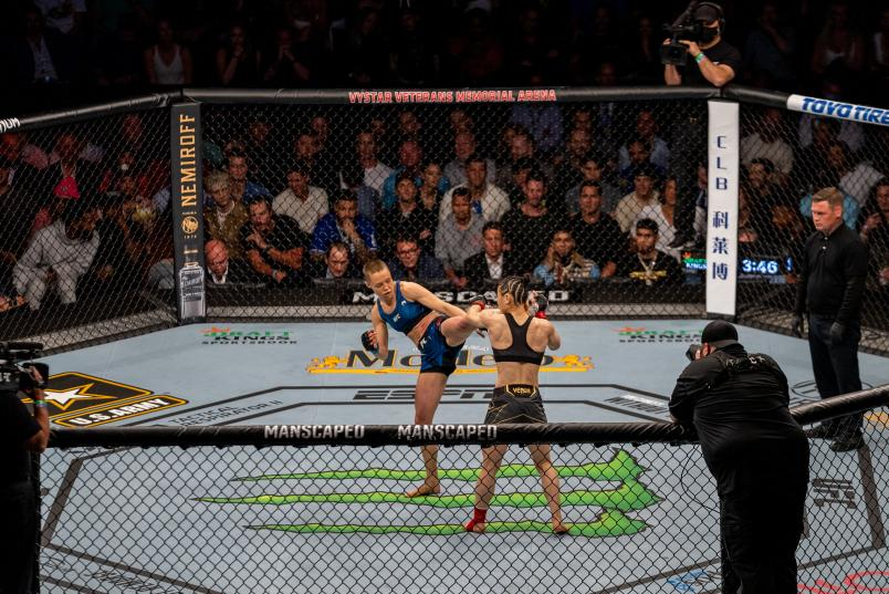 Rose Namajunas kicks Zhang Weili of China in their UFC women's strawweight championship bout during the UFC 261 event at VyStar Veterans Memorial Arena on April 24, 2021 in Jacksonville, Florida. Rose Namajunas kicks Zhang Weili of China in their UFC women's strawweight championship bout during the UFC 261 event at VyStar Veterans Memorial Arena on April 24, 2021 in Jacksonville, Florida. (Photo by Nolan Walker)