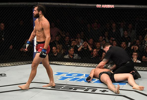 Jorge Masvidal reacts after his knockout victory over Darren Till of England in their welterweight bout during the UFC Fight Night event at The O2 Arena on March 16, 2019 in London, England. (Photo by Jeff Bottari/Zuffa LLC)