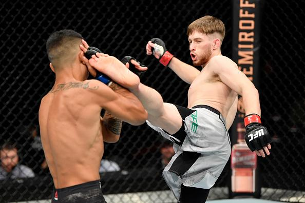 Jack Shore of Wales kicks Nohelin Hernandez in their bantamweight bout during the UFC Fight Night event at Royal Arena on September 28, 2019 in Copenhagen, Denmark. (Photo by Jeff Bottari/Zuffa LLC)