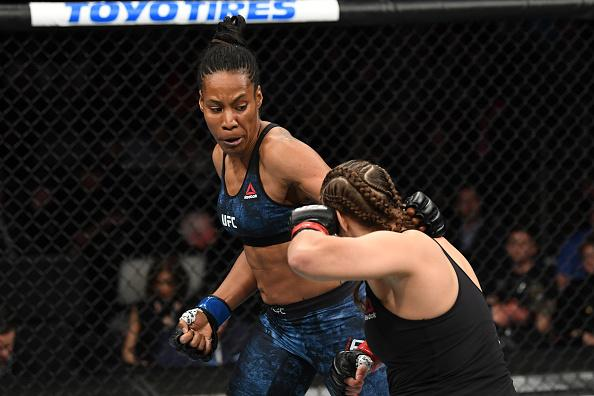 Zarah Fairn punches Felicia Spencer in their women's featherweight bout during the UFC Fight Night event at Chartway Arena on February 29, 2020 in Norfolk, Virginia. (Photo by Josh Hedges/Zuffa LLC)