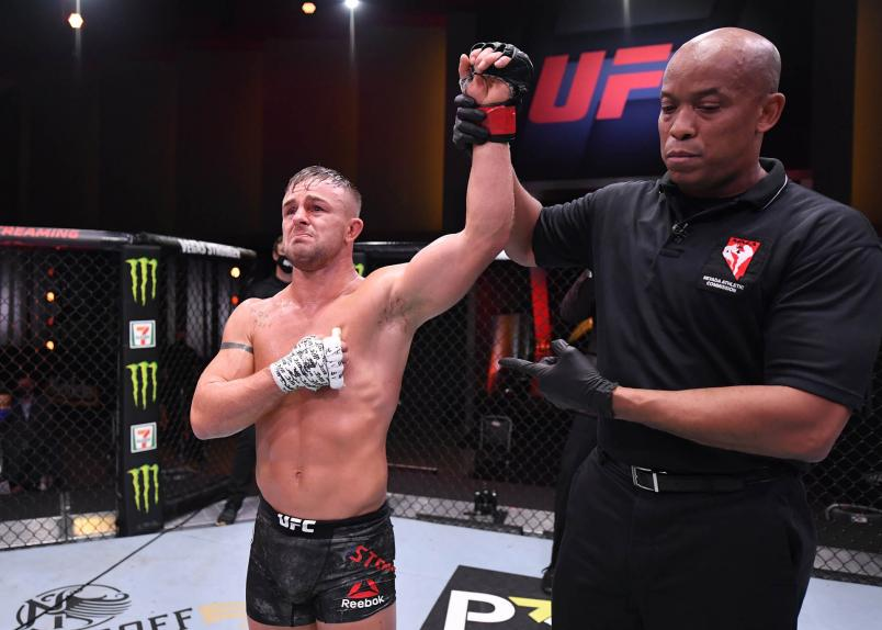 Cody Stamman celebrates after his victory over Brian Kelleher in their featherweight bout during the UFC 250 event at UFC APEX on June 06, 2020 in Las Vegas, Nevada. (Photo by Jeff Bottari/Zuffa LLC)