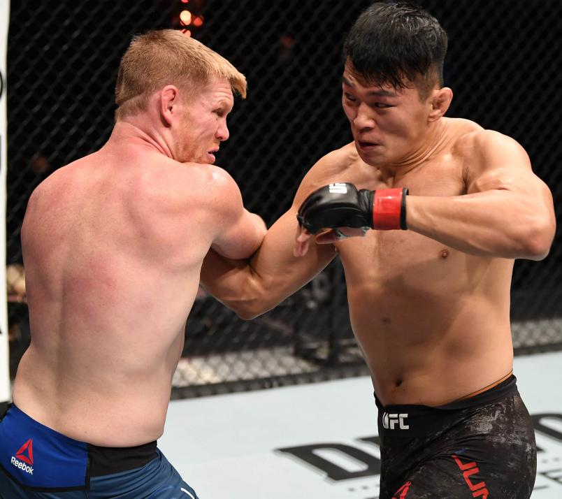 Da-un Jung of South Korea punches Sam Alvey in their light heavyweight bout during the UFC 254 event on October 24, 2020 on UFC Fight Island, Abu Dhabi, United Arab Emirates. (Photo by Josh Hedges/Zuffa LLC via Getty Images)