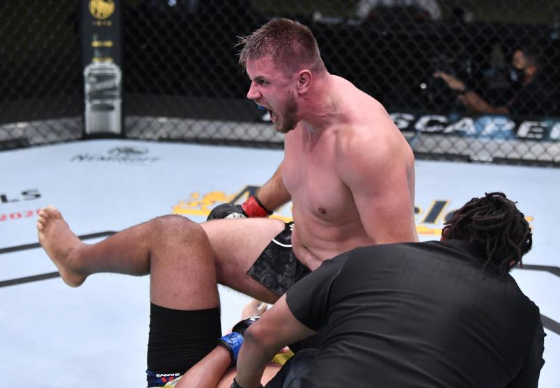 Alexandr Romanov of Moldova reacts after his submission victory over Marcos Rogerio de Lima of Brazil in a heavyweight fight during the UFC Fight Night event at UFC APEX on November 07, 2020 in Las Vegas, Nevada. (Photo by Jeff Bottari/Zuffa LLC)