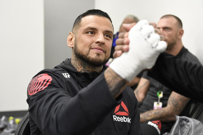 Daniel Rodriguez has his hands wrapped backstage during the UFC 255 event at UFC APEX on November 21, 2020 in Las Vegas, Nevada. (Photo by Mike Roach/Zuffa LLC)
