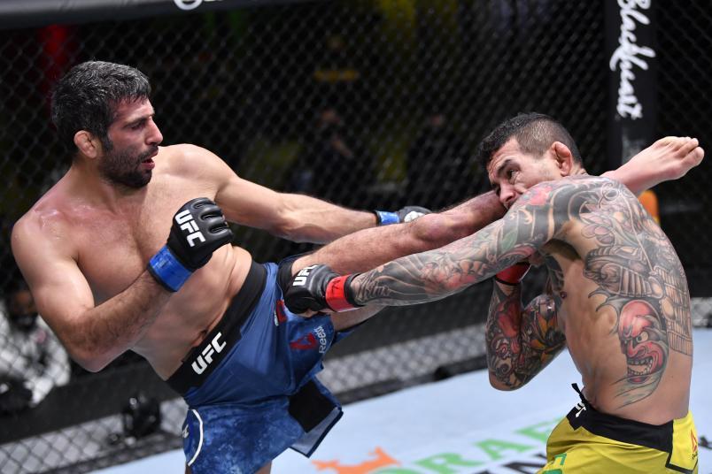 Beneil Dariush of Iran kicks Diego Ferreira of Brazil in their lightweight fight during the UFC Fight Night event at UFC APEX on February 06, 2021 in Las Vegas, Nevada. (Photo by Chris Unger/Zuffa LLC)