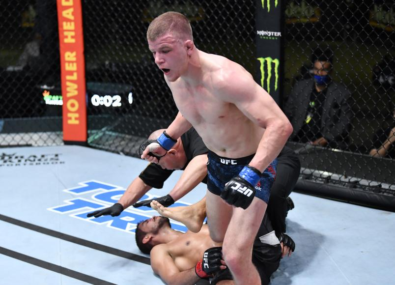 Grant Dawson reacts after his last-second knockout of Leonardo Santos of Brazil in their middleweight fight during the UFC Fight Night event at UFC APEX on March 20, 2021 in Las Vegas, Nevada. (Photo by Chris Unger/Zuffa LLC)