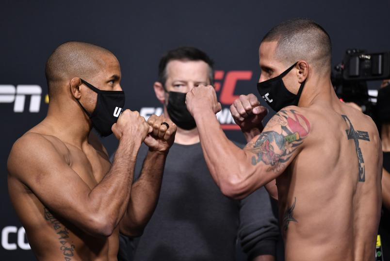 Tony Gravely and Anthony Birchak face off during the UFC weigh-in at UFC APEX on April 16, 2021 in Las Vegas, Nevada. (Photo by Chris Unger/Zuffa LLC)