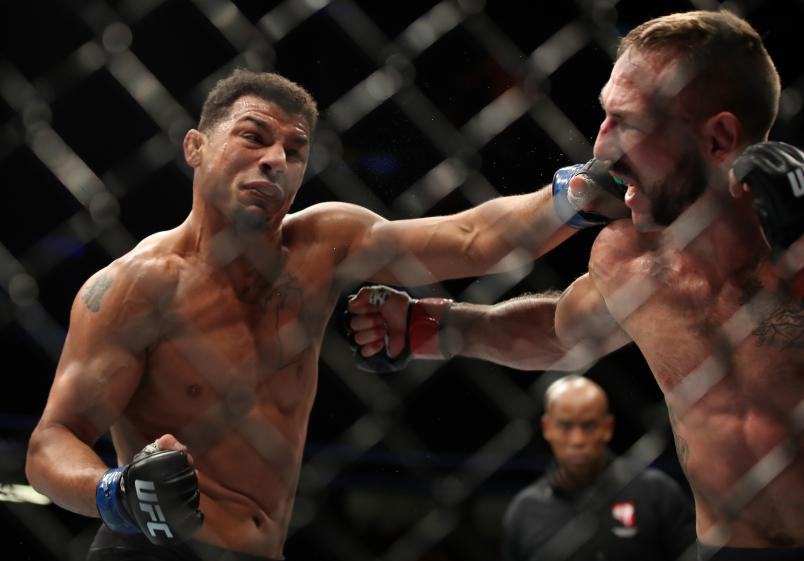 Drakkar Klose punches Lando Vannata in their lightweight fight during the UFC 226 event inside T-Mobile Arena on July 7, 2018 in Las Vegas, Nevada. (Photo by Christian Petersen/Zuffa LLC)