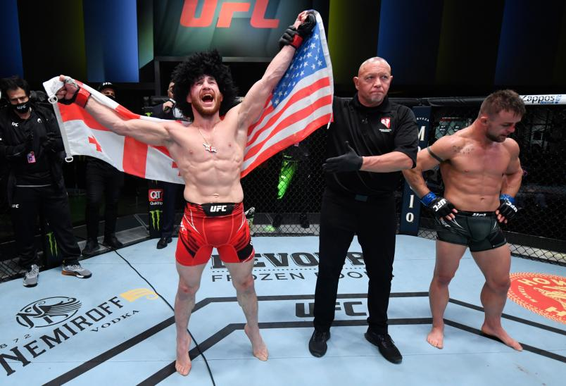Merab Dvalishvili of Georgia reacts after his victory over Cody Stamann in a bantamweight bout during the UFC Fight Night event at UFC APEX on May 01, 2021 in Las Vegas, Nevada. (Photo by Jeff Bottari/Zuffa LLC)