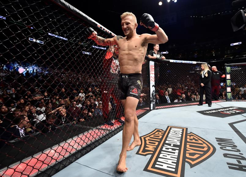 TJ Dillashaw prepares to fight Cody Garbrandt in their UFC bantamweight championship fight during the UFC 227 event inside Staples Center on August 4, 2018 in Los Angeles, California. (Photo by Jeff Bottari/Zuffa LLC)