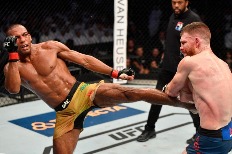 Edson Barboza of Brazil kicks Paul Felder in their lightweight bout during UFC 242 at The Arena on September 7, 2019 in Yas Island, Abu Dhabi, United Arab Emirates. (Photo by Jeff Bottari/Zuffa LLC)