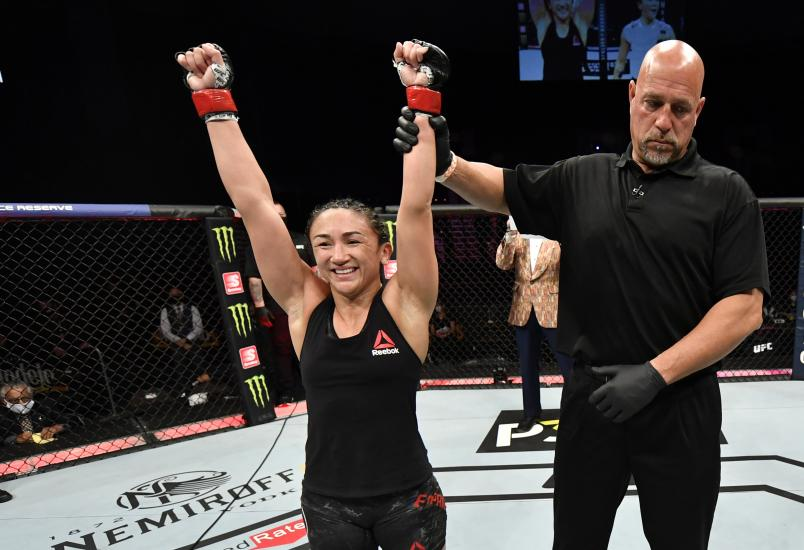 Carla Esparza celebrates after her split-decision victory over Michelle Waterson in their strawweight fight during the UFC 249 event at VyStar Veterans Memorial Arena on May 09, 2020 in Jacksonville, Florida. (Photo by Jeff Bottari/Zuffa LLC)