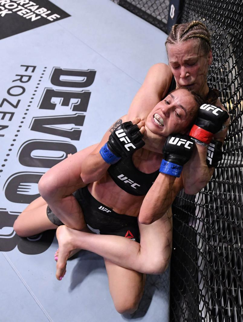 Katlyn Chookagian attempts to secure a rear choke submission against Antonina Shevchenko of Kyrgyzstan in their flyweight fight during the UFC Fight Night event at UFC APEX on May 30, 2020 in Las Vegas, Nevada. (Photo by Jeff Bottari/Zuffa LLC)