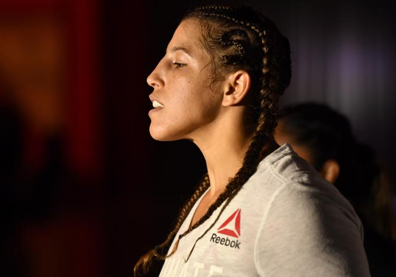 Felicia Spencer of Canada prepares to fight Amanda Nunes in their UFC featherweight championship bout during the UFC 250 event at UFC APEX on June 06, 2020 in Las Vegas, Nevada. (Photo by Jeff Bottari/Zuffa LLC)
